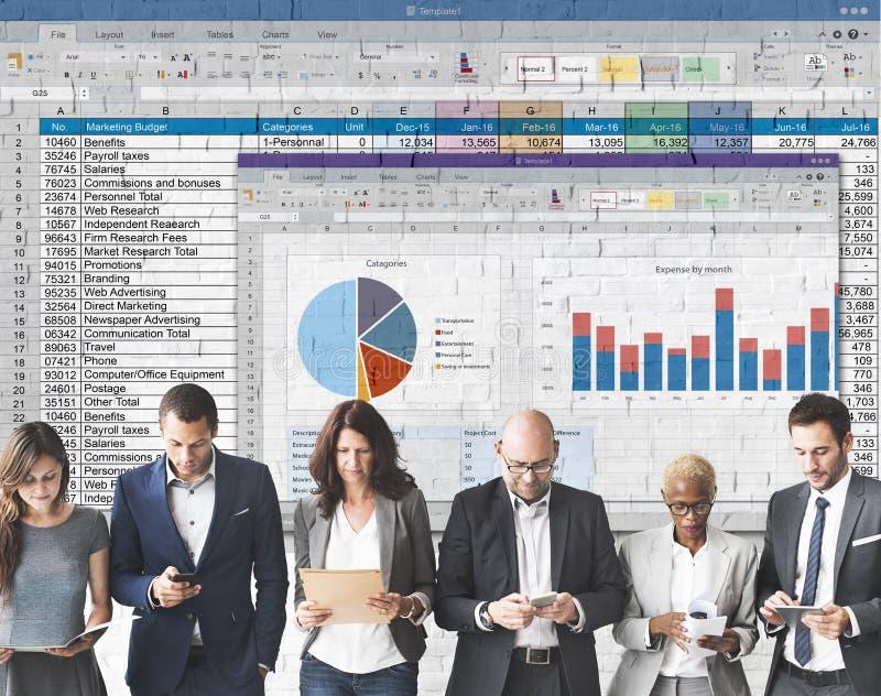 Tabellen-Dokumenten-Finanzberichts-Konzept lizenzfreie stockfotos