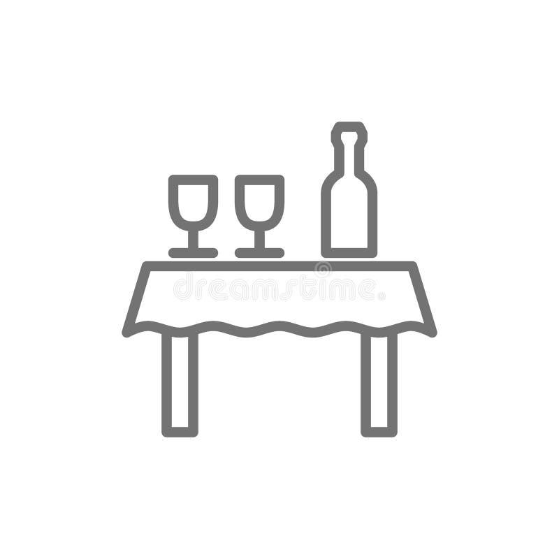 Tabellen med flaskan av vin och exponeringsglas fodrar symbolen royaltyfri illustrationer