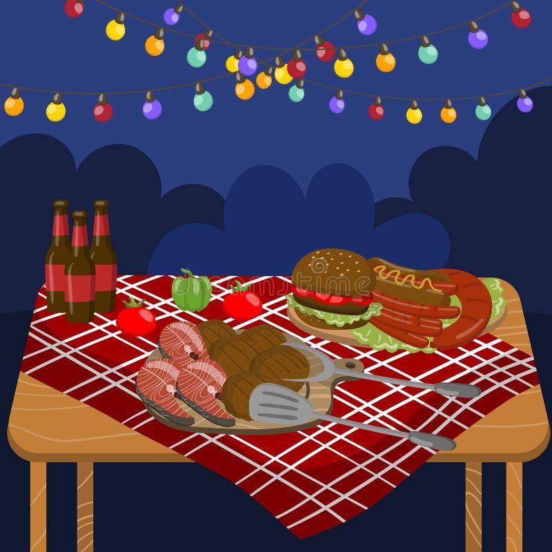 Tabellen med grillade nötköttbiffar, korvar, laxen, hamburgare, nattgrillfestparti med festlig belysning tänder vektorn vektor illustrationer
