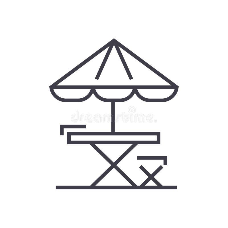 Tabellen-, Stuhl- und Sonnenregenschirm vector Linie Ikone, Zeichen, Illustration auf Hintergrund, editable Anschläge stock abbildung