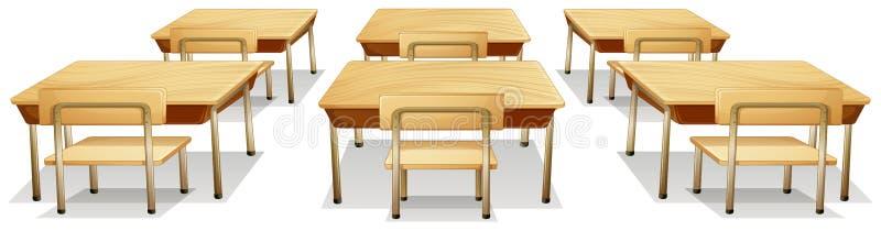 Tabellen und Stühle stock abbildung