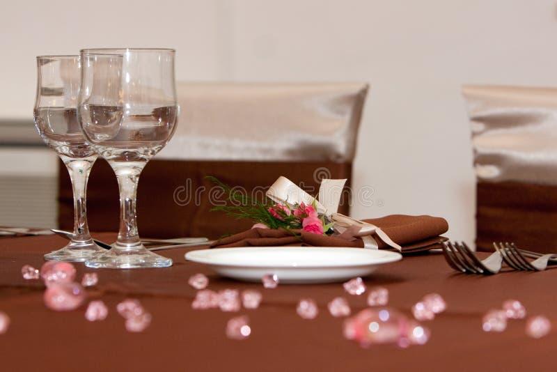 Tabellenanordnung stockfoto