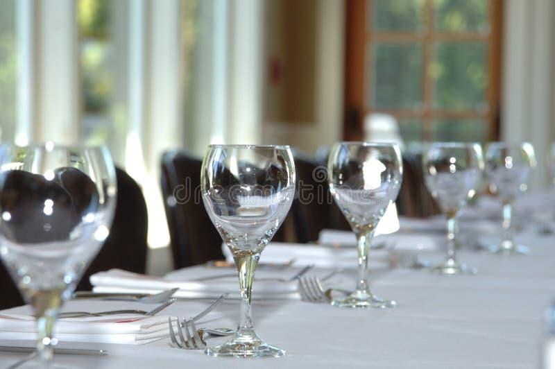 Tabelleneinstellung an der Hochzeit lizenzfreies stockfoto