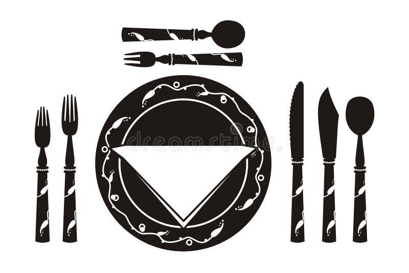 Tabelleneinstellung für eine Mahlzeit stock abbildung
