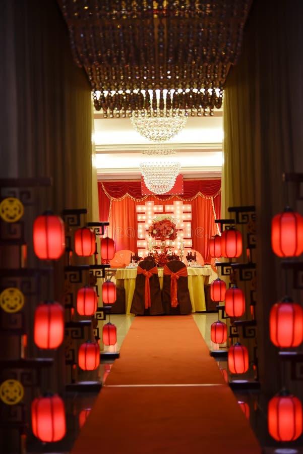 Tabelleneinstellung im Hochzeitsbankett lizenzfreie stockfotografie