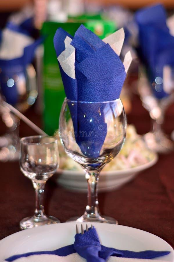 Tabelleneinträge, Tabellenrestaurant lizenzfreies stockfoto