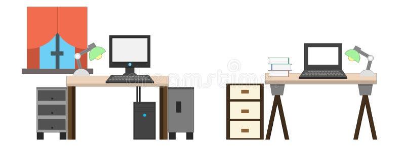 Tabellenikonen Arbeitsplatz, Schreibtische stock abbildung