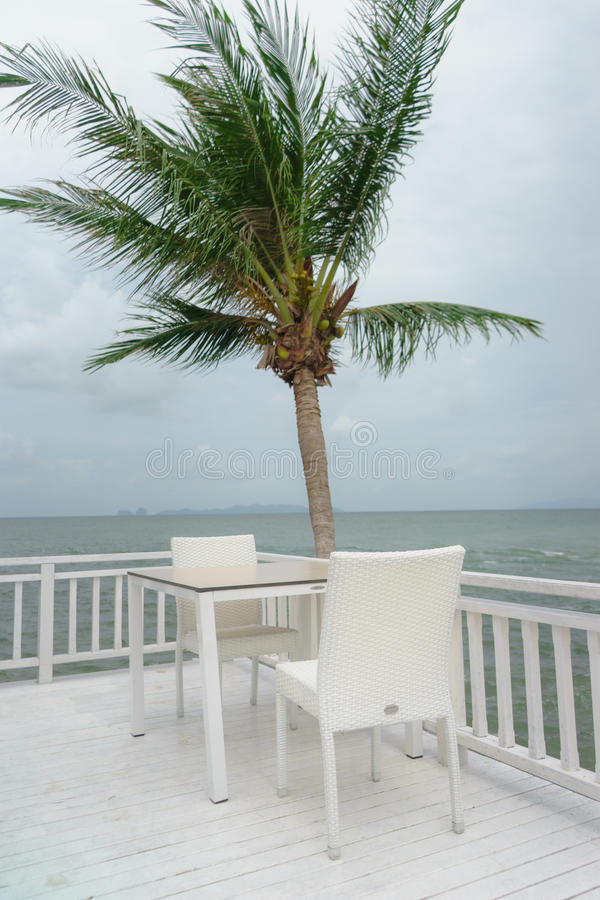 Tabellenstuhl und Kokosnussbaum stockbild
