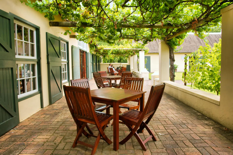 Tabeller på terrassen som täckas av druvavinrankan royaltyfri foto