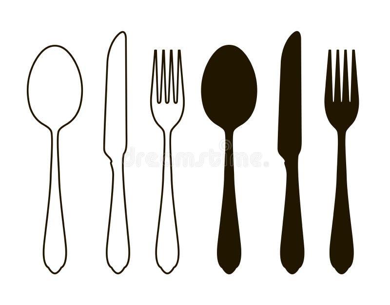 Tabellinställning, bordsservis Bestick, uppsättning av gaffeln, sked och kniv Konturvektorillustration royaltyfri illustrationer