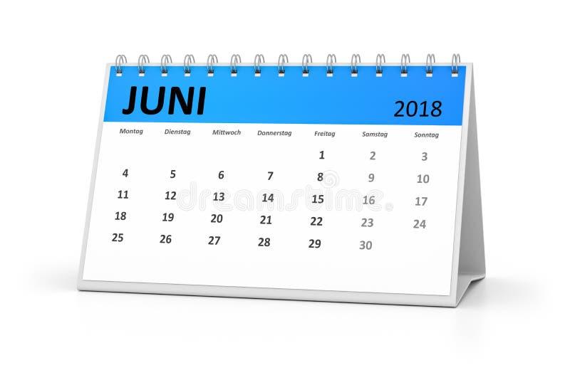 Tabellkalender 2018 för tyskt språk juni vektor illustrationer