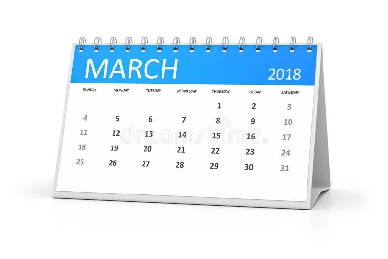 Tabellkalender2018 marsch stock illustrationer