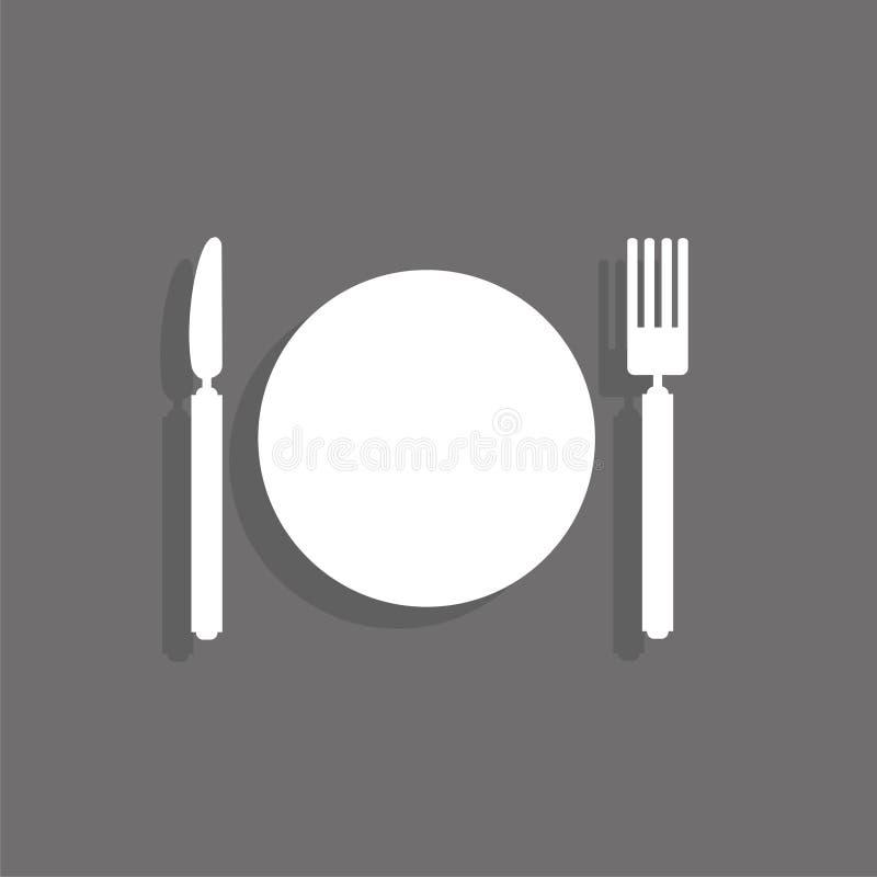Tabellkniv, gaffel och platta gears symbolen stock illustrationer