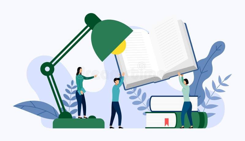 Tabellkontorslampa och bunt av böcker med mänskliga begrepp, vektorillustration vektor illustrationer