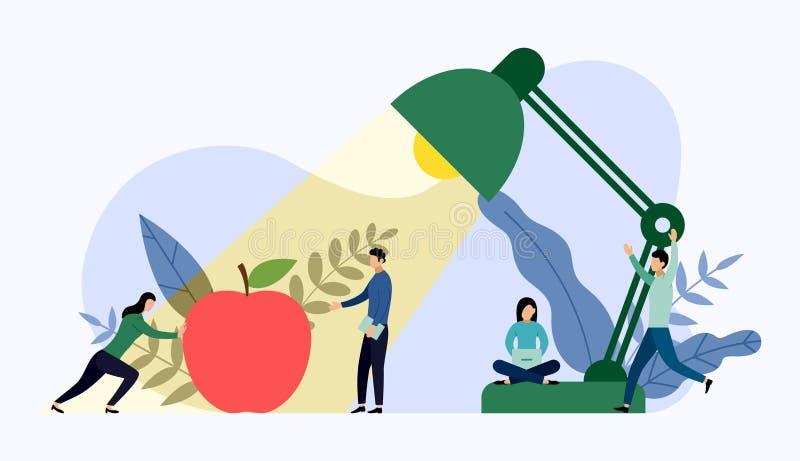 Tabellkontorslampa och rött äpple med mänskliga begrepp stock illustrationer