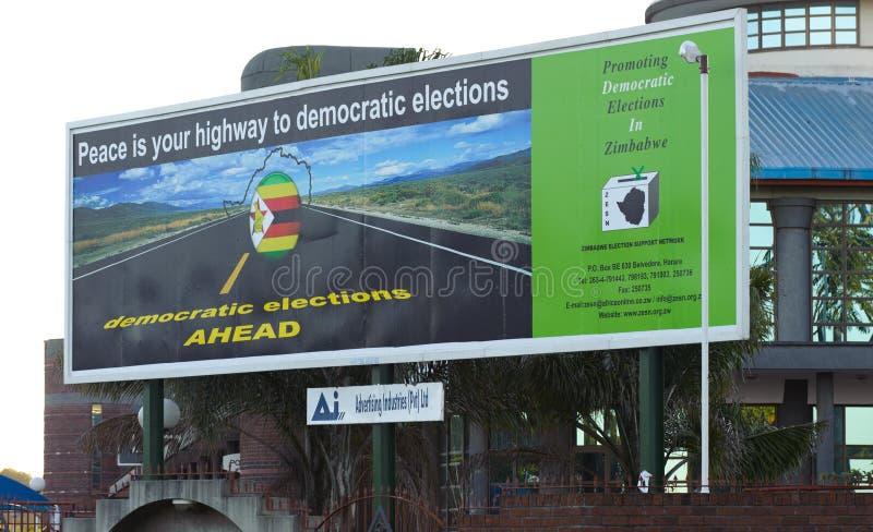 Tabellone per le affissioni 2011 di elezioni dello Zimbabwe fotografie stock