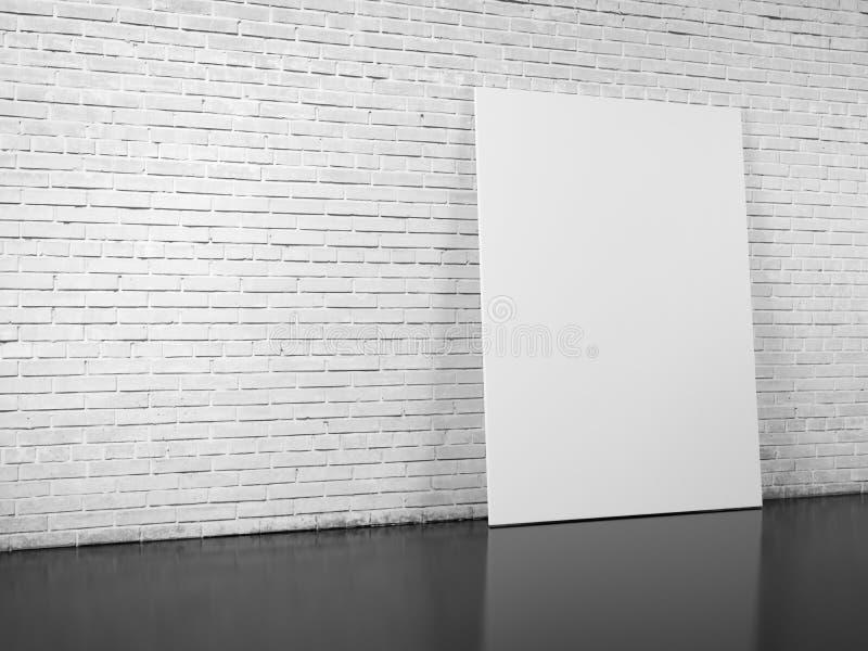 Tabellone per le affissioni in bianco sopra il muro di mattoni bianco immagini stock