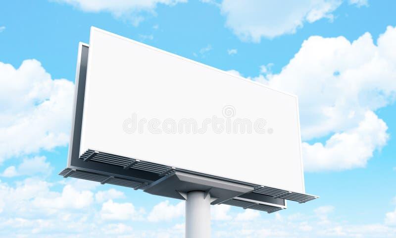Tabellone per le affissioni in bianco su cielo blu pronto per una nuova pubblicità Derisione su rappresentazione 3d fotografia stock