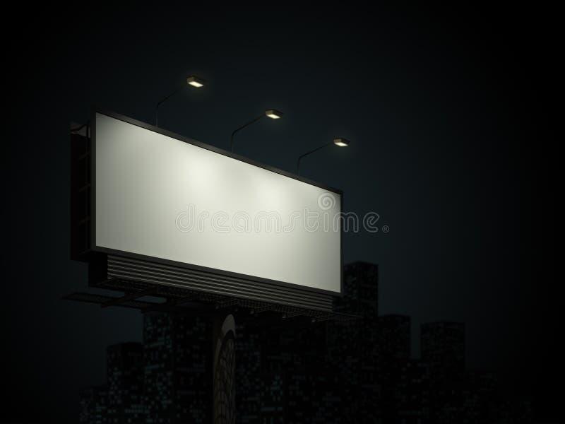 Tabellone per le affissioni con l'orizzonte urbano immagine stock