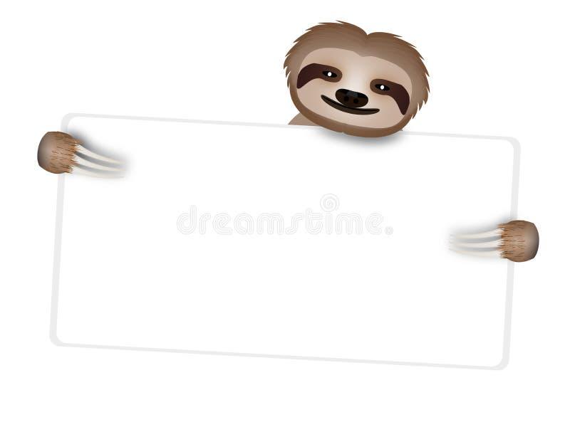 Tabellone per le affissioni con un bradipo dolce immagini stock