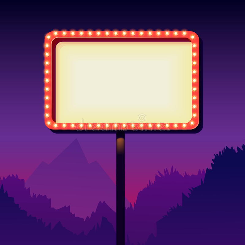 Tabellone per le affissioni d'annata della strada di pubblicità con le luci Retro segno 3d royalty illustrazione gratis