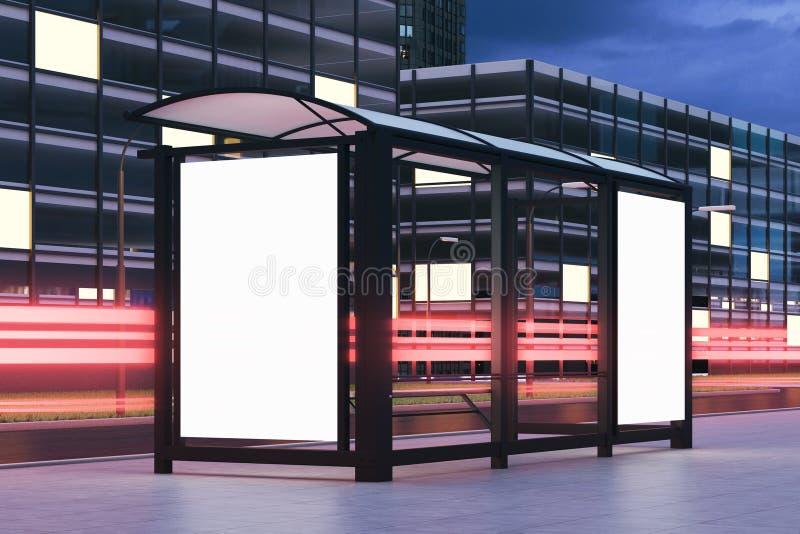 Tabellone per le affissioni della fermata dell'autobus, lato illustrazione vettoriale