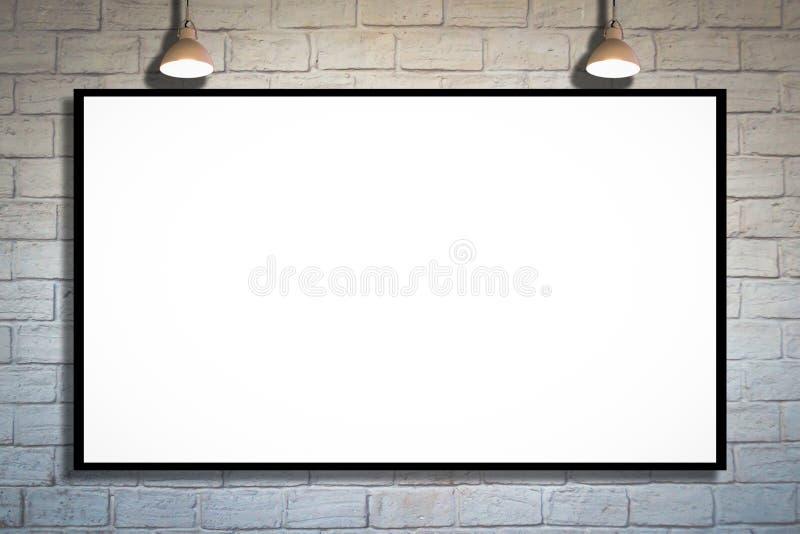 Tabellone per le affissioni di pubblicità enorme del manifesto sul muro di mattoni immagini stock libere da diritti