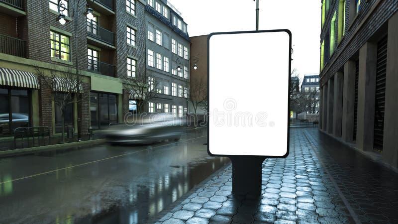 tabellone per le affissioni di pubblicità sulla via della città alla sera fotografia stock