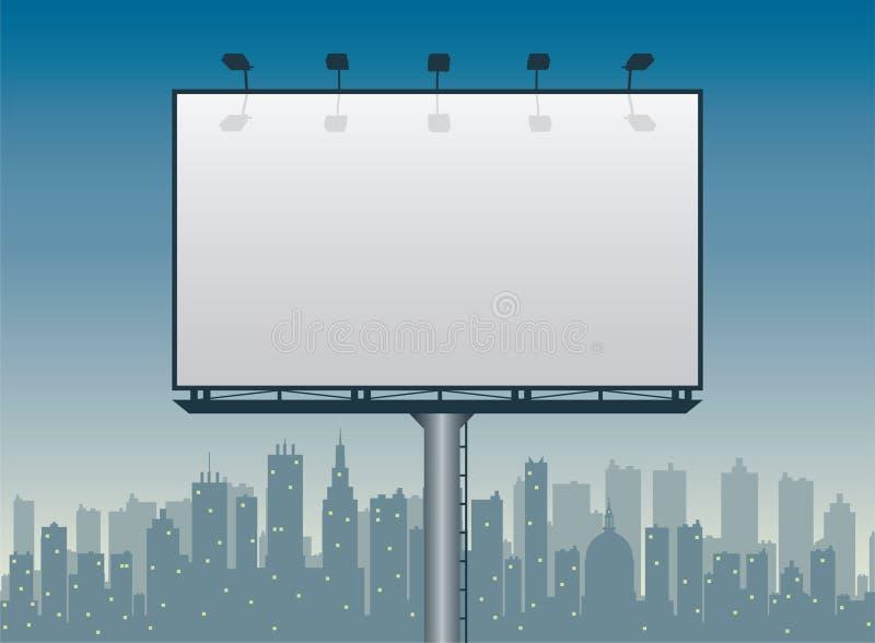 Tabellone per le affissioni e la città illustrazione di stock