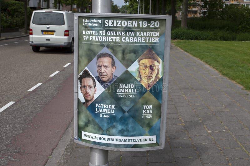 Tabellone per le affissioni Schouwburg Amstelveen i Paesi Bassi 2019 immagine stock libera da diritti