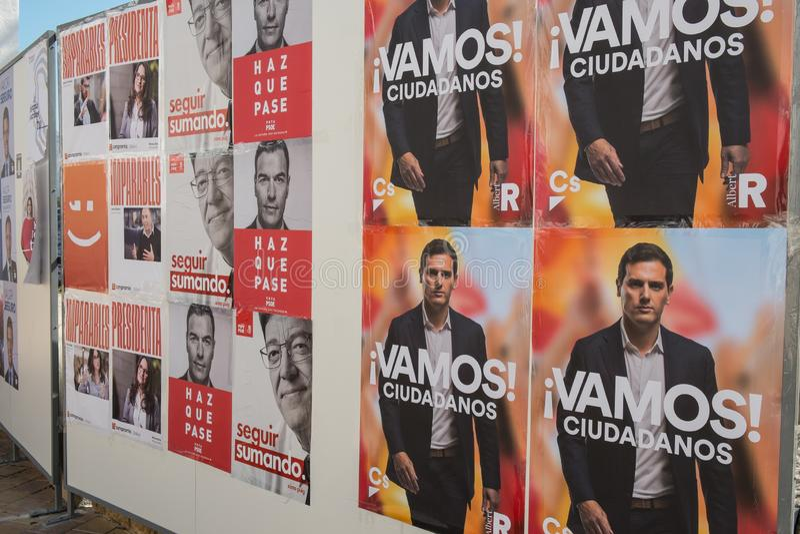 Tabellone per le affissioni spagnolo di elezione aprile 2019 immagine stock libera da diritti