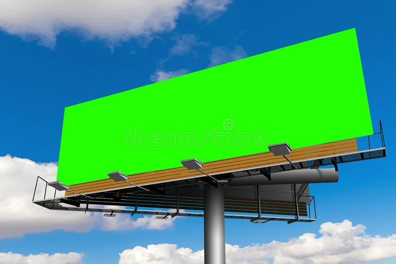 Tabellone per le affissioni vuoto con lo schermo di verde di chiave di intensità, su cielo blu con la c illustrazione di stock