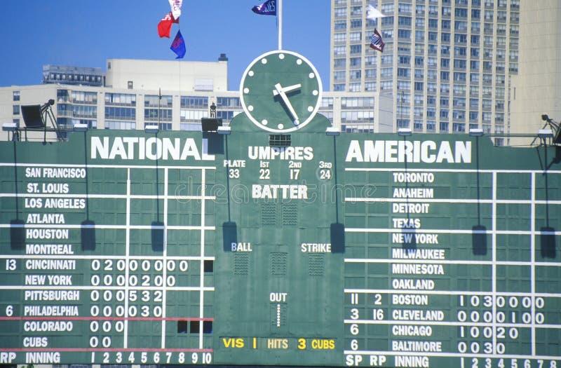 Tabellone segnapunti al campo di Wrigley, Chicago immagine stock