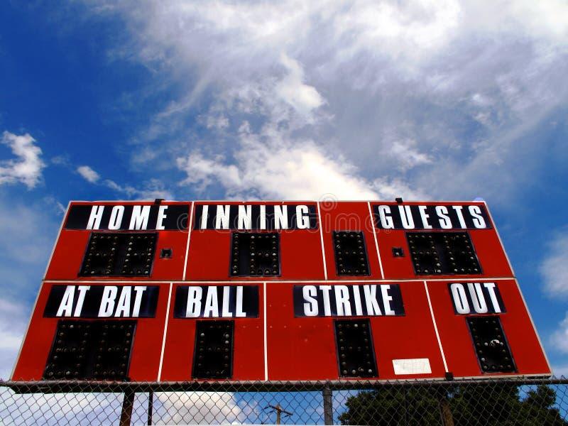 Tabellone segnapunti di baseball fotografia stock