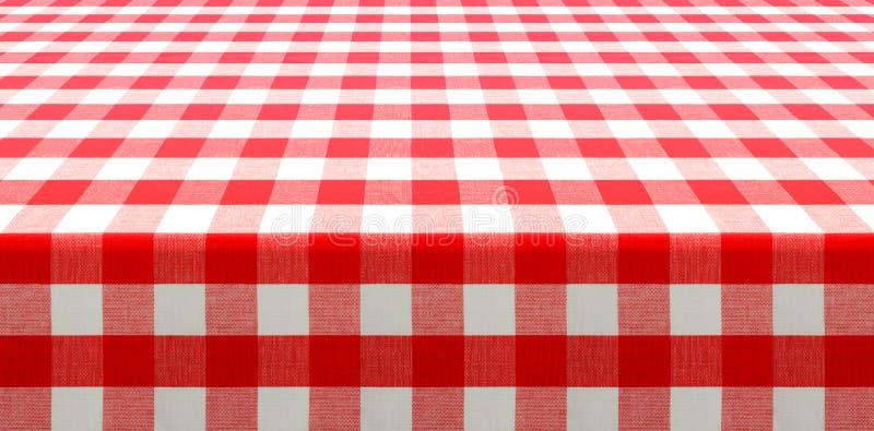 Tabellperspektivsikt med den röda kontrollerade picknickbordduken arkivfoto