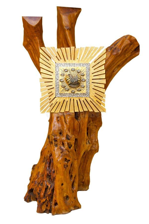 Tabernáculo de oro en árbol de madera imagen de archivo libre de regalías