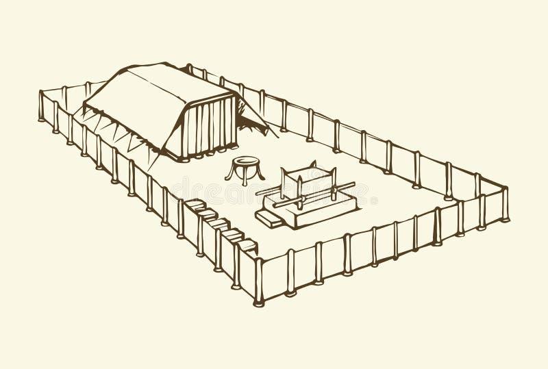 Tabernacle Mojżesz rysuje tła trawy kwiecistego wektora royalty ilustracja