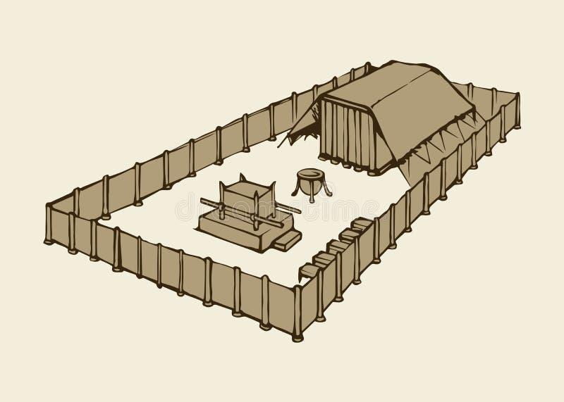 Tabernakel av Moses bakgrund som tecknar den blom- gräsvektorn vektor illustrationer