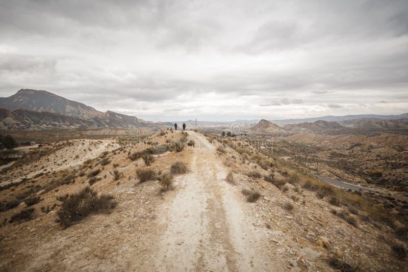 Tabernas Desert - Almería, Spain. Tabernas Desert with clouds - Almería, Spain royalty free stock image