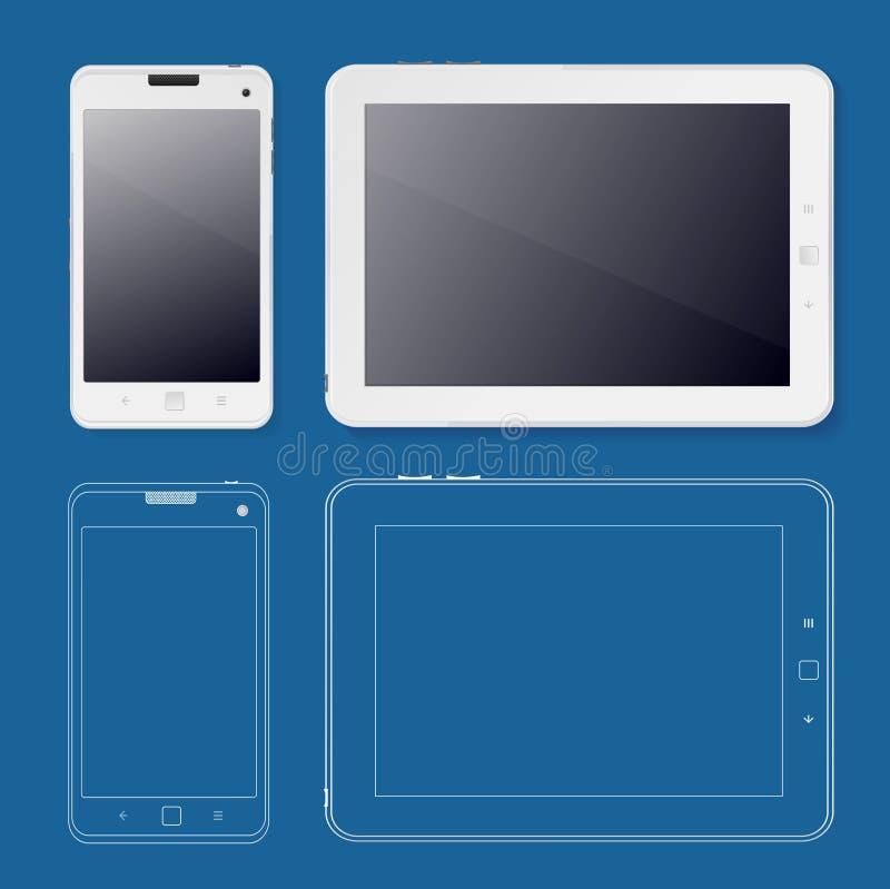Tabet en Telefoon van het het Webontwerp van Ui het Malplaatjewit Vector stock illustratie