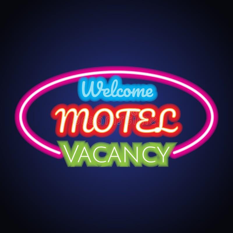 Tablón de la señal de neón del motel del hotel para el negocio del hotel Vector stock de ilustración