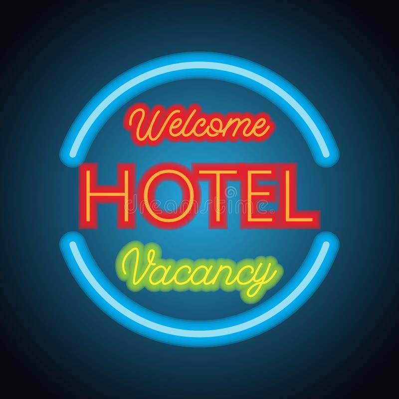 Tablón de la señal de neón del motel del hotel para el negocio del hotel Vector ilustración del vector