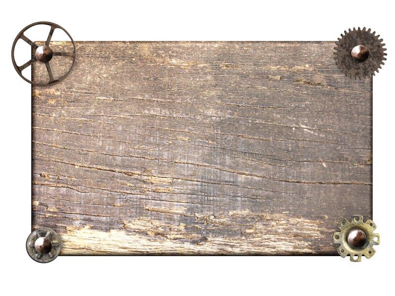 Tabl?n de madera con los engranajes y la rueda dentada de la m?quina del vintage imágenes de archivo libres de regalías