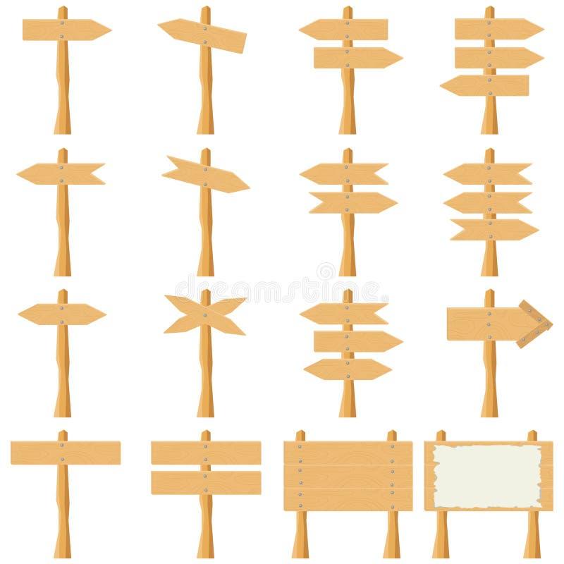 Tablón-indicadores de madera stock de ilustración