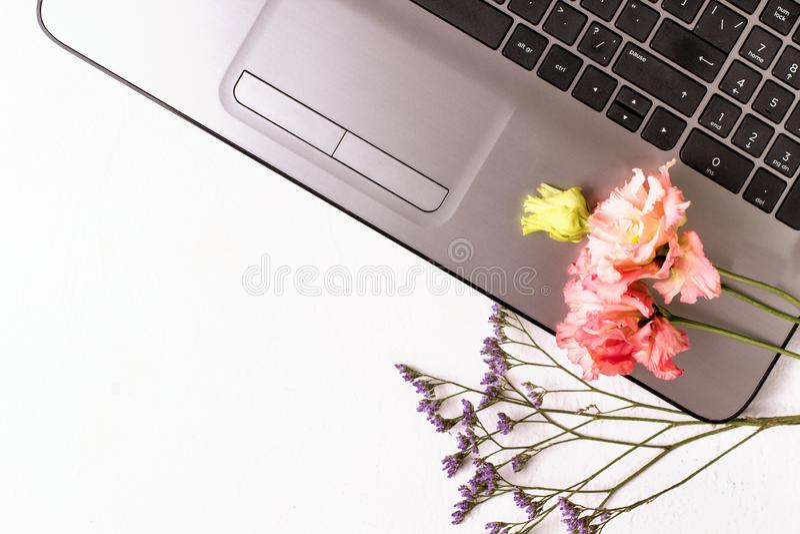 Tabla blanca con el ordenador port?til y las flores Espacio de trabajo del Freelancer foto de archivo