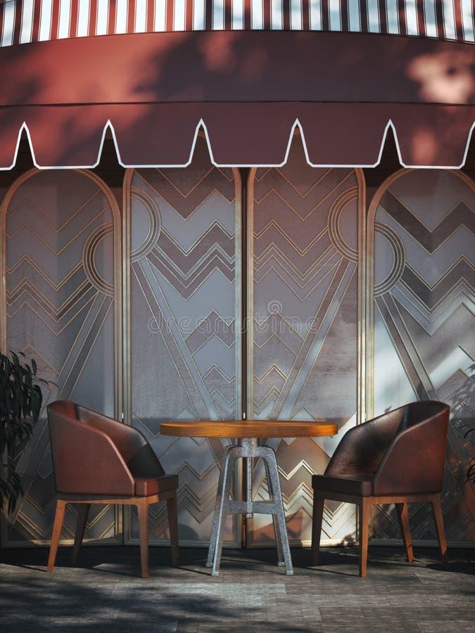 Tabla con las sillas de la cereza en la calle representación 3d ilustración del vector