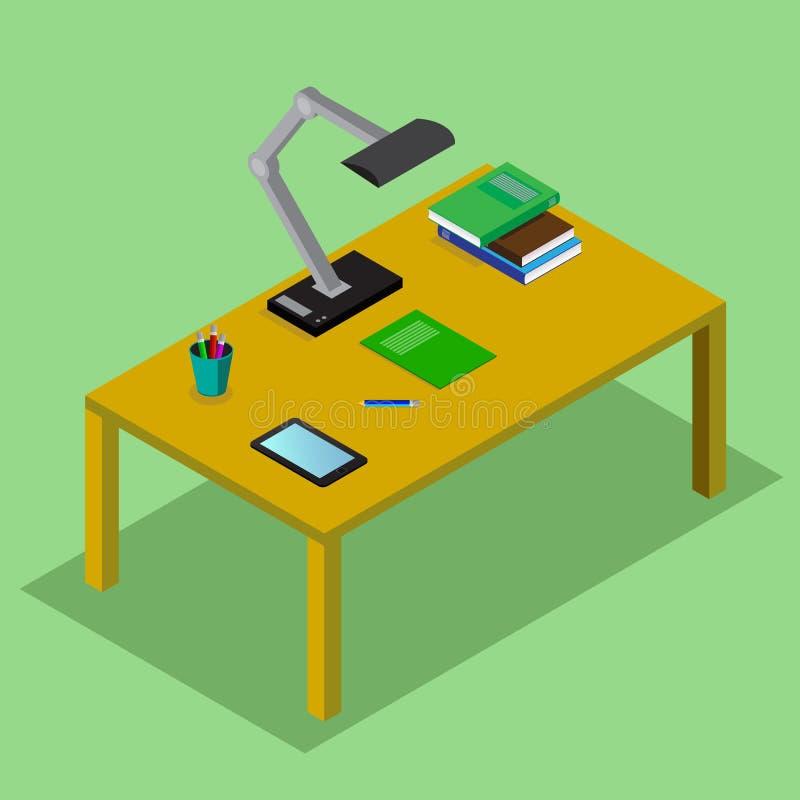 Tabla con los libros, lámpara, la tableta Lugar de trabajo del estudiante ejemplo isométrico del concepto del vector 3D en estilo libre illustration
