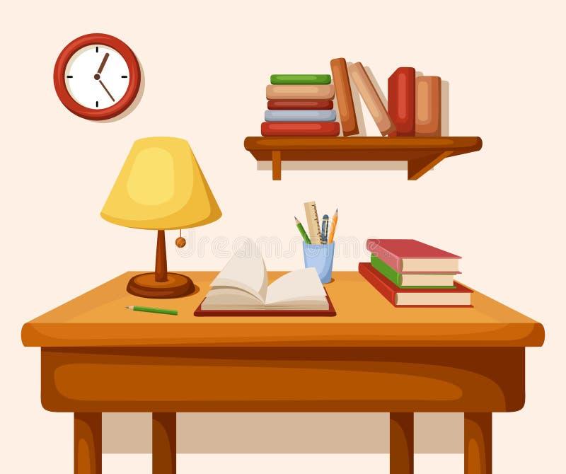 Tabla con los libros y la lámpara en ella, estante y el reloj Interior del vector ilustración del vector
