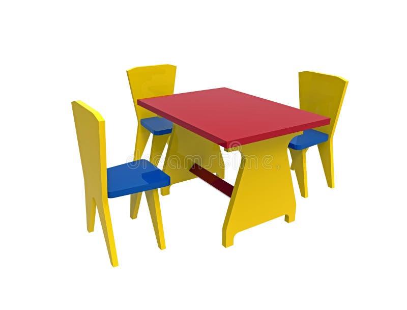 Tabla con tres sillas, juguete de madera colorido stock de ilustración