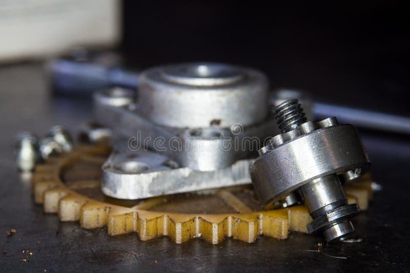Tabla de acero de la rueda de la fábrica del engranaje imagen de archivo libre de regalías